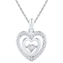 0.1 CTW Diamond Pendant White Rhodium Silver - GD108633-REF#12T3K