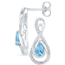 1.12 CTW Blue Topaz & Diamond Earrings 10KT White Gold - GD101046-REF#26A9X