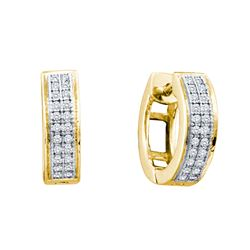 0.15 CTW Diamond Hoop Earrings 10KT Yellow Gold - GD50065-REF#21M6F