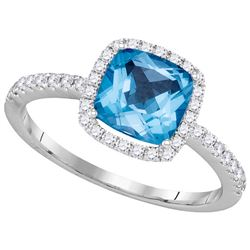 1.75 CTW Blue Topaz & Diamond Ladies Ring 14KT White Gold - GD105008-REF#73H7W