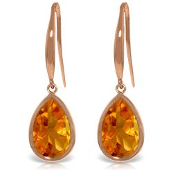 Genuine 5 ctw Citrine Earrings Jewelry 14KT Rose Gold - GG#3485 - REF#35Z2N