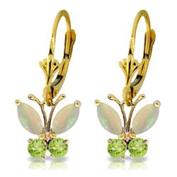 Genuine 1.39 ctw Opal & Peridot Earrings Jewelry 14KT Yellow Gold - GG#2202 - REF#40H5X