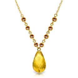 Genuine 11.5 ctw Citrine Necklace Jewelry 14KT Yellow Gold - GG#3333 - REF#34N7R