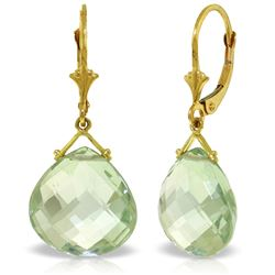 Genuine 17 ctw Green Amethyst Earrings Jewelry 14KT Yellow Gold - GG#3896 - REF#38N2R