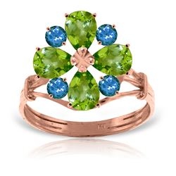 Genuine 2.43 ctw Peridot & Blue Topaz Ring Jewelry 14KT Rose Gold - GG#2227 - REF#48P3H