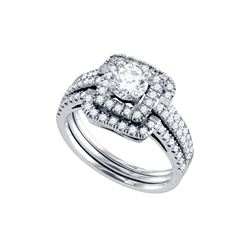 1.37 CTW Diamond Bridal Set Ring 14KT White Gold - GD70294-REF#206R9H