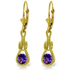 Genuine 1.3 ctw Amethyst Earrings Jewelry 14KT Yellow Gold - GG#4223 - REF#49Z3N