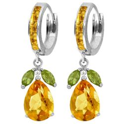Genuine 14.3 ctw Peridot & Citrine Earrings Jewelry 14KT White Gold - GG#3146 - REF#82R9P