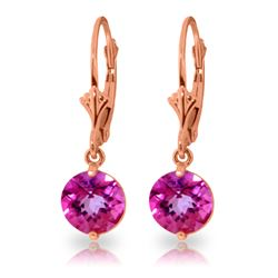 Genuine 3.1 ctw Pink Topaz Earrings Jewelry 14KT Rose Gold - GG#1842 - REF#34W3Y