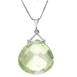 Genuine 8.5 ctw Green Amethyst Necklace Jewelry 14KT White Gold - GG#3898 - REF#26N9R