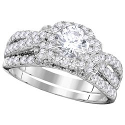 2 CTW Diamond Bridal Set Ring 14KT White Gold - GD106423-REF#323X9Y