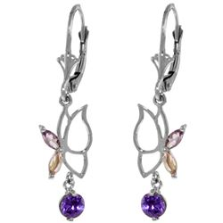 Genuine 0.8 ctw Amethyst Earrings Jewelry 14KT White Gold - GG#4201 - REF#38N2R