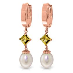 Genuine 9.5 ctw Pearl & Citrine Earrings Jewelry 14KT Rose Gold - GG#2473 - REF#53W2Y
