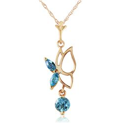 Genuine 0.4 ctw Blue Topaz Necklace Jewelry 14KT Yellow Gold - GG#4209 - REF#22X2M