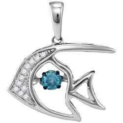 0.2 CTW White & Blue Diamond Pendant 10KT White Gold - GD110199-REF#30A4X