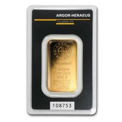 One pc. 1 oz .9999 Fine Gold Bar - Argor-Heraeus KineBar Design In Assay