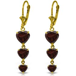 Genuine 6 ctw Garnet Earrings Jewelry 14KT Yellow Gold - GG#1979 - REF#66V9W
