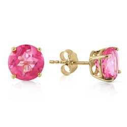 Genuine 3.1 ctw Pink Topaz Earrings Jewelry 14KT Yellow Gold - GG#1920 - REF#25W3Y