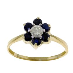 Genuine 0.50 ctw Sapphire & Diamond Ring Jewelry 14KT Yellow Gold - GG#2336 - REF#42H2X