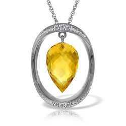 Genuine 9.6 ctw Citrine & Diamond Necklace Jewelry 14KT White Gold - GG#5566 - REF#109T6A