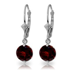 Genuine 3.1 ctw Garnet Earrings Jewelry 14KT White Gold - GG#1703 - REF#34K3V