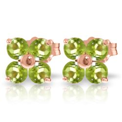 Genuine 1.15 ctw Peridot Earrings Jewelry 14KT Rose Gold - GG#1742 - REF#19P3H