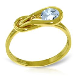 Genuine 0.65 ctw Aquamarine Ring Jewelry 14KT Yellow Gold - GG#4222 - REF#49Y2F