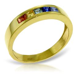 Genuine 0.6 ctw Multi-Color Sapphire Ring Jewelry 14KT Yellow Gold - GG#3985 - REF#49Y2F