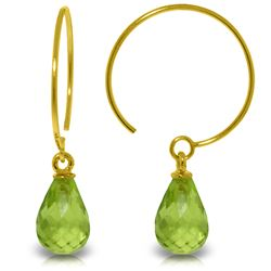 Genuine 1.35 ctw Peridot Earrings Jewelry 14KT Yellow Gold - GG#2862 - REF#13A3K