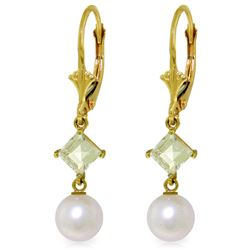 Genuine 5 ctw White Pearl & Aquamarine Earrings Jewelry 14KT Yellow Gold - GG#4524 - REF#32W2Y