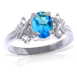 Genuine 0.97 ctw Blue Topaz & Diamond Ring Jewelry 14KT White Gold - GG#4595 - REF#59Z2N