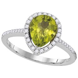 1.58 CTW Peridot & Diamond Ladies Ring 14KT White Gold - GD105041-REF#73G7M
