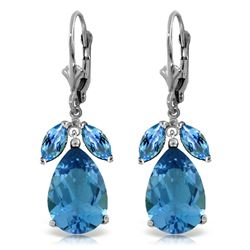 Genuine 13 ctw Blue Topaz Earrings Jewelry 14KT White Gold - GG#2558 - REF#61A2K