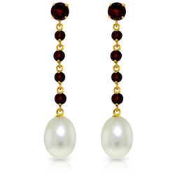 Genuine 10 ctw Garnet & Pearl Earrings Jewelry 14KT Yellow Gold - GG#3249 - REF#32A4K