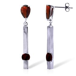 Genuine 4.25 ctw Garnet Earrings Jewelry 14KT White Gold - GG#1889 - REF#54Y6F