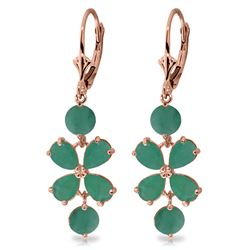 Genuine 5.32 ctw Emerald Earrings Jewelry 14KT Rose Gold - GG#1970 - REF#70V4W