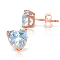 Genuine 3.25 ctw Aquamarine Earrings Jewelry 14KT Rose Gold - GG#2556 - REF#28T5A