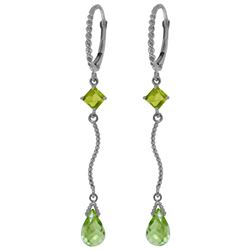 Genuine 3.5 ctw Peridot Earrings Jewelry 14KT White Gold - GG#3299 - REF#33W8Y