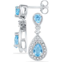 1.48 CTW Blue Topaz & Diamond Earrings 10KT White Gold - GD101035-REF#34T3K