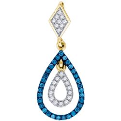 0.2 CTW White & Blue Diamond Pendant 10KT Two-tone Gold - GD84211-REF#21X6Y
