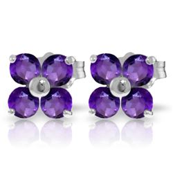 Genuine 1.15 ctw Amethyst Earrings Jewelry 14KT White Gold - GG#1740 - REF#19N3R