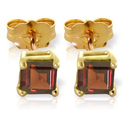 Genuine 1 ctw Garnet Earrings Jewelry 14KT Yellow Gold - GG#2064 - REF#18M2T
