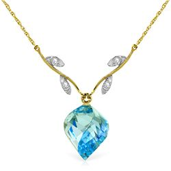 Genuine 13.92 ctw Blue Topaz & Diamond Necklace Jewelry 14KT Yellow Gold - GG#4706 - REF#56F2Z