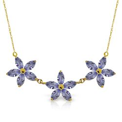 Genuine 4 ctw Tanzanite Necklace Jewelry 14KT Yellow Gold - GG#5161 - REF#86N3R