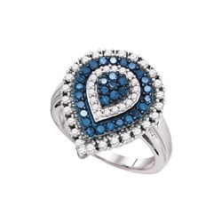 1 CTW White & Blue Diamond Ladies Ring 10KT White Gold - GD72221-REF#71H9W