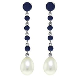 Genuine 10 ctw Sapphire & Pearl Earrings Jewelry 14KT White Gold - GG#3336 - REF#37R8P