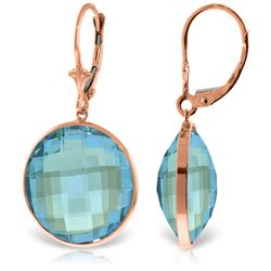 Genuine 46 ctw Blue Topaz Earrings Jewelry 14KT Rose Gold - GG#5235 - REF#92R2P