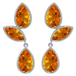 Genuine 13 ctw Citrine Earrings Jewelry 14KT White Gold - GG#3460 - REF#58K7V