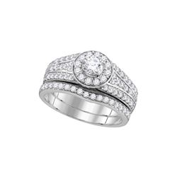 1 CTW Diamond Bridal Set Ring 14KT White Gold - GD111710-REF#134F9N