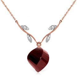 Genuine 15.27 ctw Ruby & Diamond Necklace Jewelry 14KT Rose Gold - GG#4923 - REF#46R7P